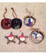 Western Hat Badge Roping Boot Steer Cowboy Christmas Ornaments Lot - $18.99