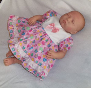 Preemie & Newborn Girls Cotton Lace Dress and Diaper Cover