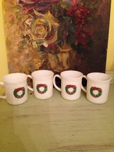 4 Vtg Salem Porcelle France Coffee Cups Mugs Christmas Tree Wreath Swirl - $20.74