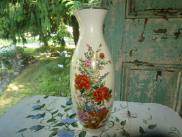 Vtg Imperial Japanese Japan Asian Vase Hand Painted Birds Gold outlining  - $23.01
