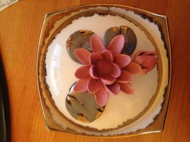 Vintage Napco Covered Dish Waterlilies Gilt Edg... - $49.08