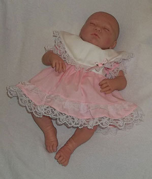 Preemie & Newborn Girls Pink Cotton Lace Dress and Diaper Cover