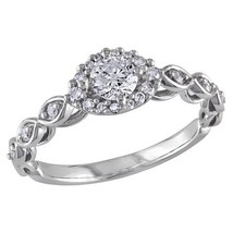 Infinity Engagement Ring 14k White Platinum Plated Classic Round White D... - £67.39 GBP