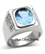 Stainless Steel Oval Shape Light Blue Cubic Zirconia Men's Ring - SIZE 8... - $16.19