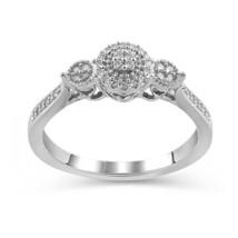 14k White Gold Fn 925 Silver Three Stone White Diamond Unique Engagement... - £65.85 GBP