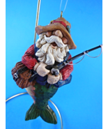 Santa Fish Fisherman Merman Fishing Christmas Ornament  - $8.95