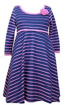 Girls Plus Blue/Pink Stripe Knit Fit and Flare Long Sleeve Dress, Bonnie Jean...
