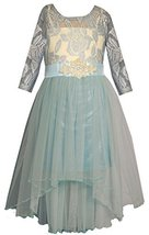 Big Girls Tween Blue 3/4-Sleeve Lace High Low Dress, X4-TG16-HOL15-4MS, Bonni... - $54.35