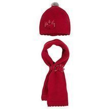 Mayoral Little Girls Flower Applique Angora Blend Knit Hat/Scarf Set, 05... - $34.55