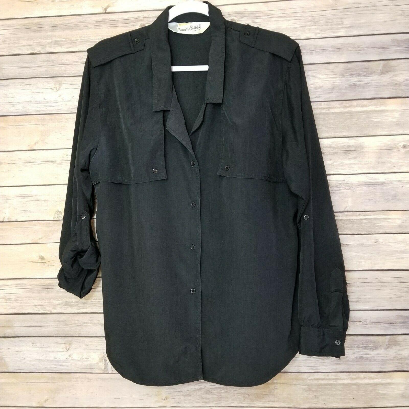 Vtg Diane von Furstenberg DVF Woman's Top Blouse Shirt Button Front Black Sz L