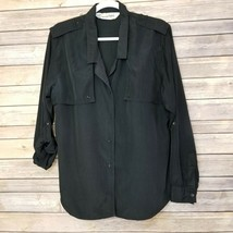 Vtg Diane von Furstenberg DVF Woman's Top Blouse Shirt Button Front Blac... - £21.35 GBP