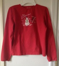 Girls red How to Build A Snowman long sleeve shirt Arizona brand Size Large - $1.99