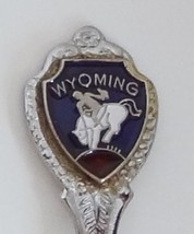 Collector Souvenir Spoon USA Wyoming Rodeo Cowboy Bareback Rider Bucking Bronc - $2.99