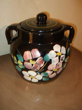 Mccoy Floral Cookie Jar Pottery Canister Black ... - $45.08