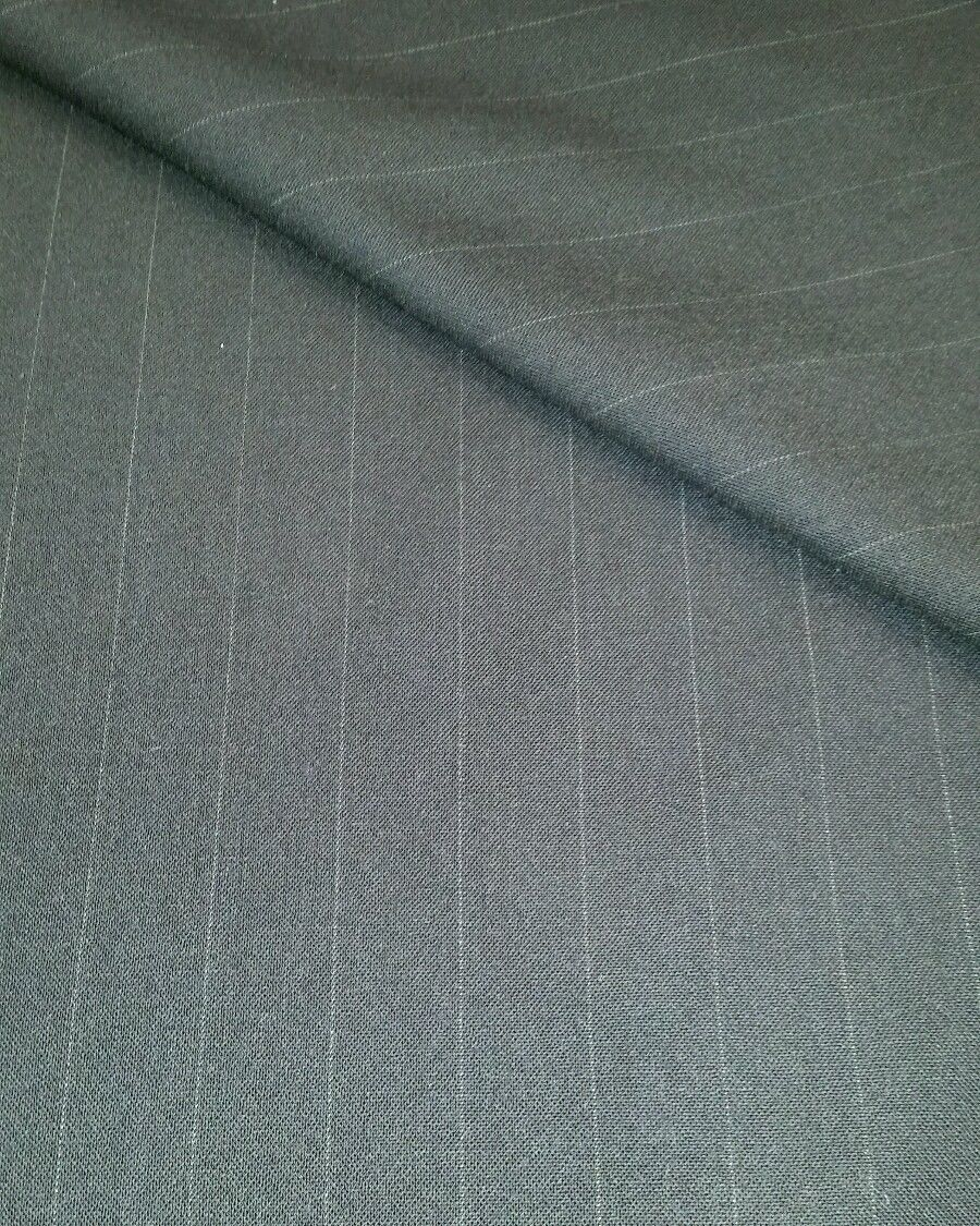 130'S Italian Wool suit fabric 6 Yards Navy Blue with white stripe Free Shipping