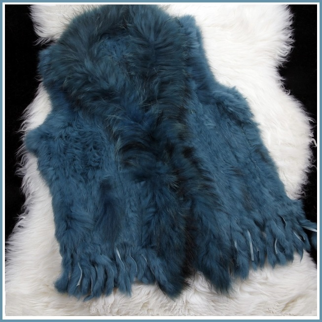 Blue Dyed Genuine Real Rabbit Fur Knitted Vest Fun Fashion Furs Wear w/Anything