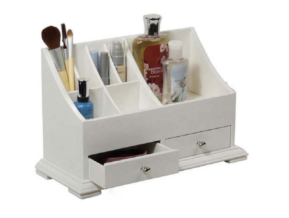 Makeup caddy bathroom countertop white