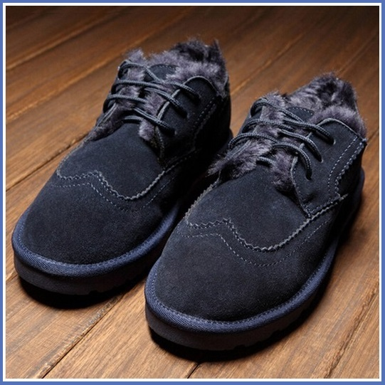 Navy Blue Leather Suede Flats Thick Fur Lined Padded Short Laced Unisex Shoes