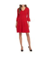 NWT JESSICA HOWARD RED KNIT FLARE DRESS SIZE L $88 - $30.87