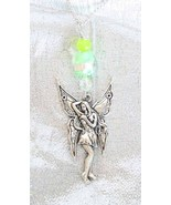 Enchanting Jade & Art Glass Silvery Fairy Pend... - $22.95