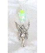 Enchanting Jade & Art Glass Silvery Fairy Pendant Necklace by Judy Strobel - $22.95