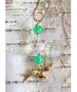 Judy Strobel Crystal Cut Glass & Jade Festive Golden Reindeer Pendant Ne... - $20.00