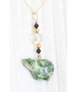 Enchanting Judy Strobel Tree Agate & Quartz Crystal Bear GF Pendant Neck... - $29.00
