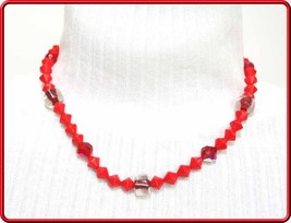 Elegant Red Faceted & Art Glass Vintage Bead Necklace by Judy Strobel - $24.70