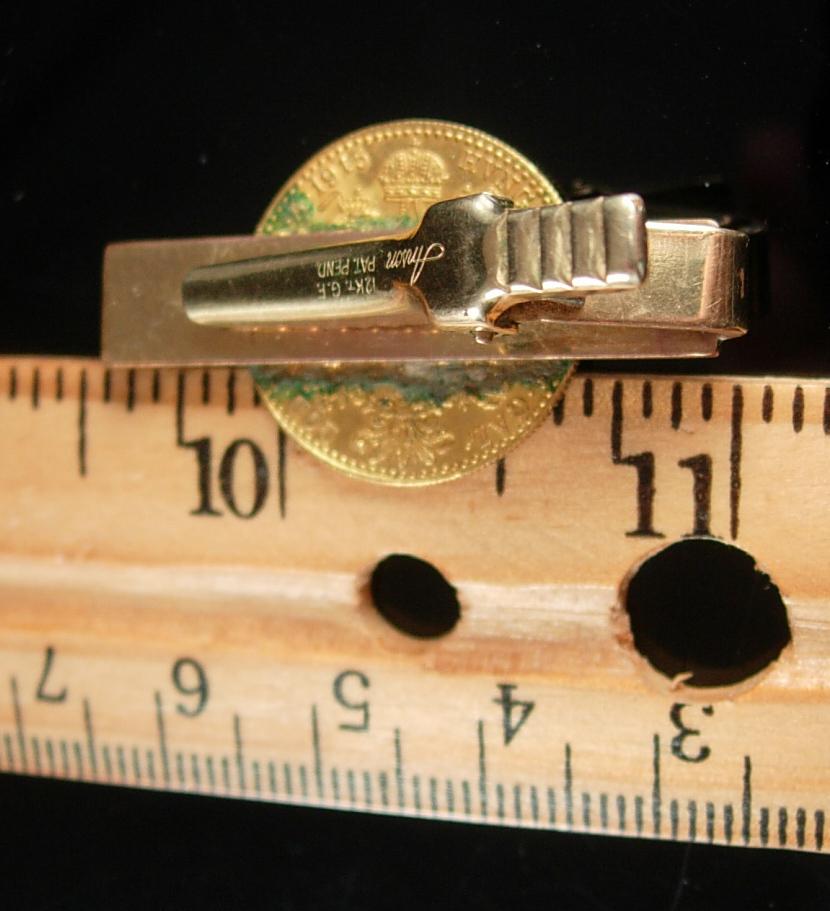 Antique 22kt gold Coin Tie Clip Austrian Ducat  Anson 12Kt GF  Numismatic mens c