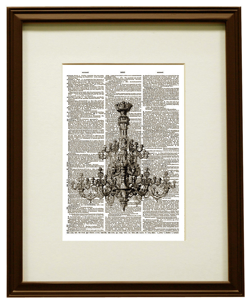 Gorgeous CHANDELIER Vintage Dictionary Art Print No. 0020