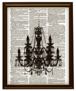 CHANDELIER Silhouette Vintage Dictionary Page Art Print No. 0054 - $12.00