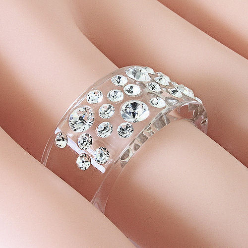 New Clear Acrylic Band Ring Large & Small Randow Row Swarovski Elements Crystal