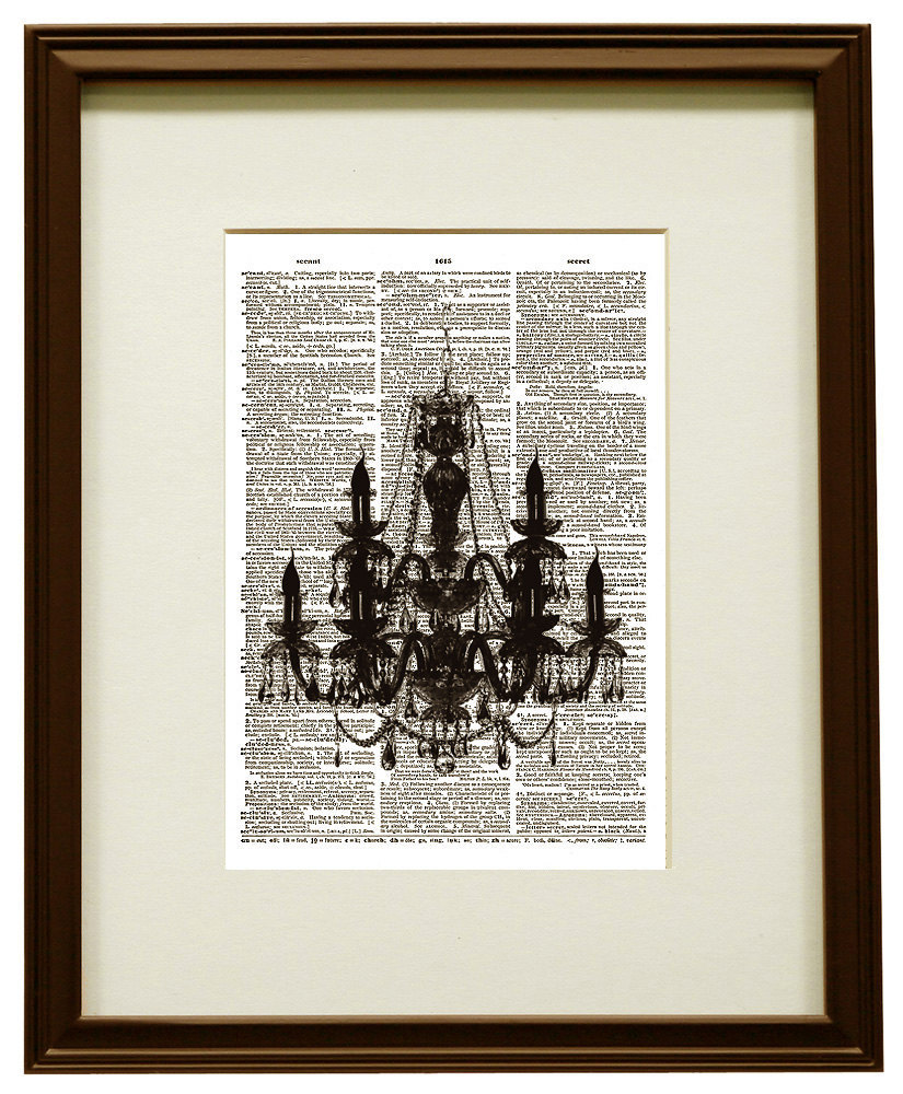 CHANDELIER Silhouette Vintage Dictionary Page Art Print No. 0054