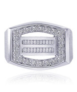 0.50 Carat Pave Round Cut and Baguette Cut Diamonds Mens Ring 14K White ... - $543.51