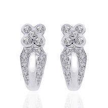 0.50 Carat Diamond Flower J-Hoop Earrings 14K White Gold - $489.16