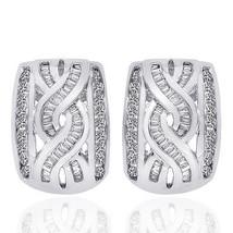 1.00 Carat Diamond Accent Infinity J-Hoop Earrings 14K White Gold - $738.64