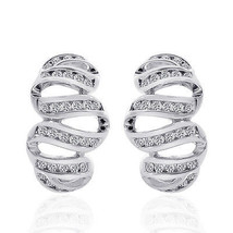 1.00 Carat Round Cut Diamond Wave Hoop Earrings 14K White Gold - $818.83