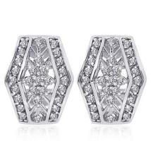 0.75 Carat Diamond Cluster J-Hoop Earrings 14K White Gold - $676.27