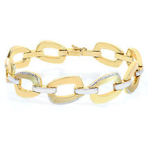 14.8mm 14K Two Tone Gold Sleeve Toggle Link Bracelet - $919.71