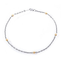14K White Gold Ankle Bracelet with Yellow Gold Balls - $256.41