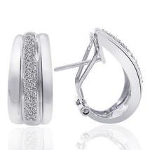 0.45 Carat Round Cut Diamond J-Hoop Earrings 14K White Gold - $596.08