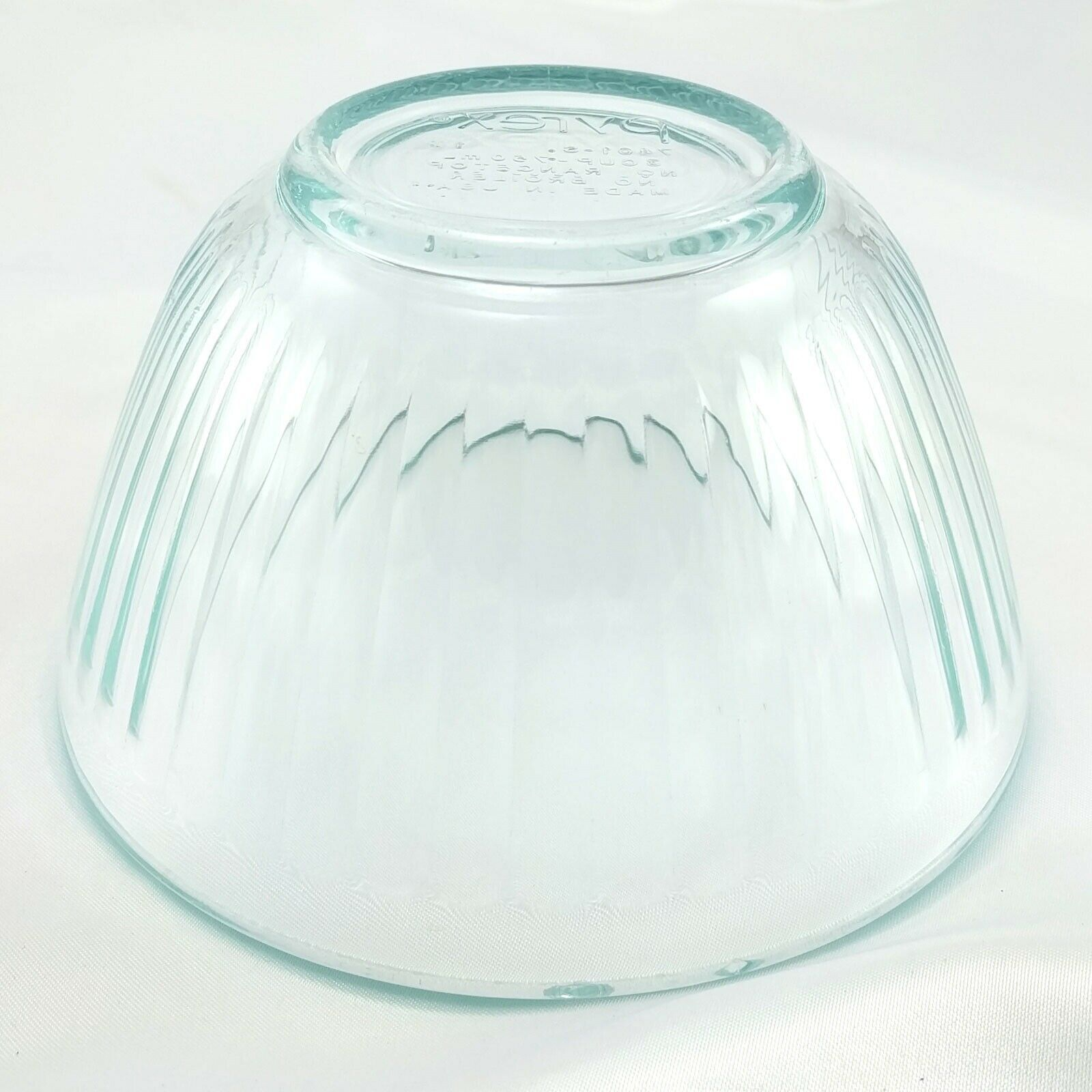 Pyrex 7401-S Ribbed Side Vintage Blue Glass Serving Bowl 3 Cup ~ CHIPPED RIM image 4