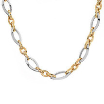 12 mm 14K Two Tone Gold Large Oval Link Chain Necklace Italy - $2,375.01