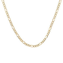 """4.5 mm Figaro Link Chain Necklace 14K Yellow Gold Italy 24"""" long - $1,048.41"""