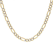 "6.8 mm Diamond Pave Cut Heavy Figaro Chain 14K Yellow Gold Italy 24"" Long - $2,751.21"