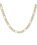 "6.8 mm Diamond Pave Cut Heavy Figaro Chain 14K Yellow Gold Italy 24"" Long - $2,751.21"
