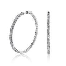 4.50 Carat Inside Out Diamond Hoop Earrings 14K White Gold - $3,769.92