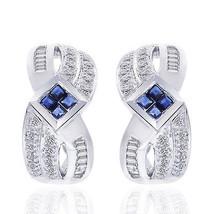 0.50 Carat Diamond and Sapphire Cluster J-Hoop Earrings 14K White Gold - $596.08