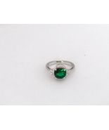 Vintage Sterling Silver Emerald & White Topaz Halo Ring Size 7 - $38.00