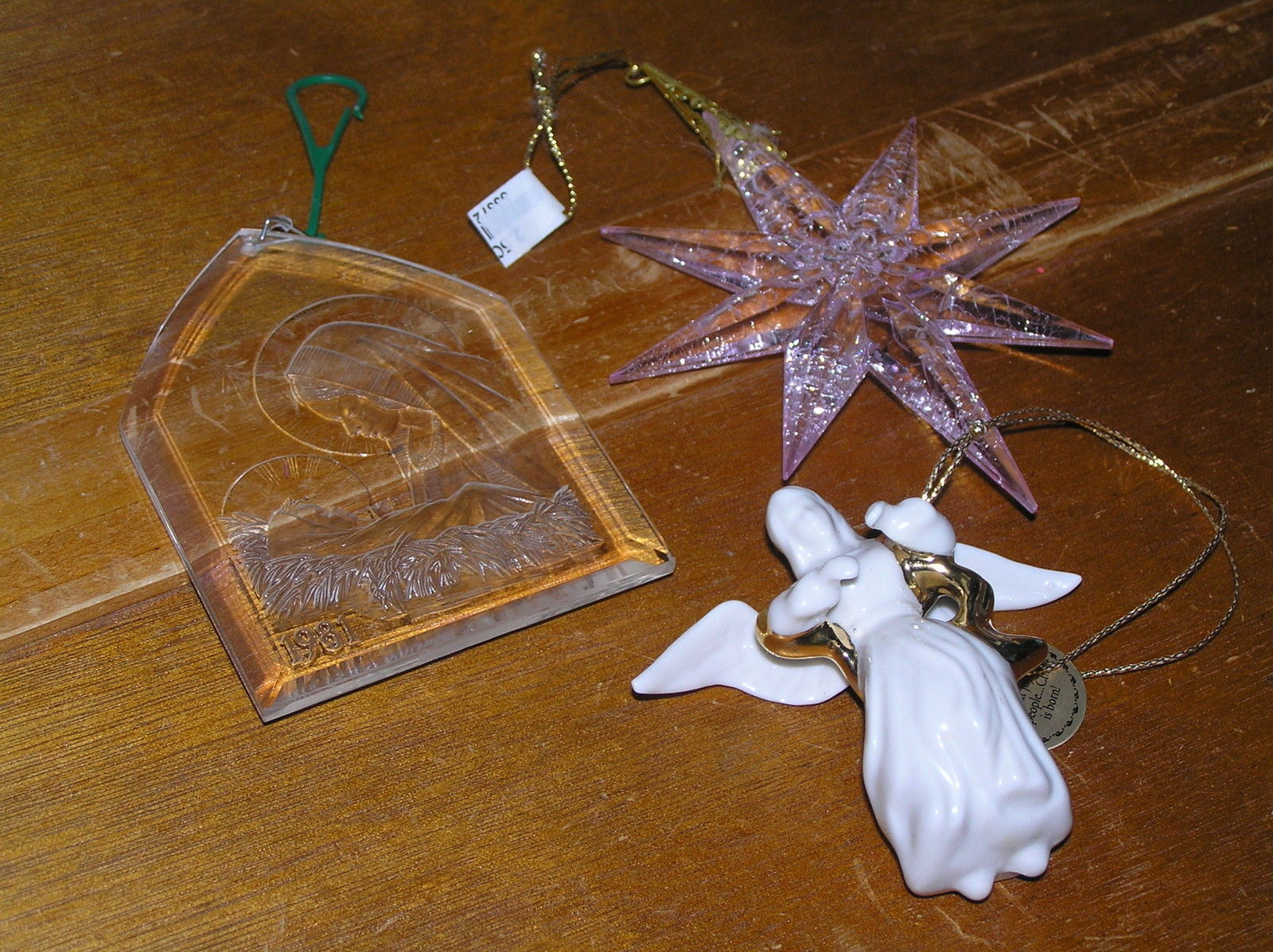 Vintage Lot of 3 Clear Plastic Mary & Baby Jesus Crackled Pink Star & White